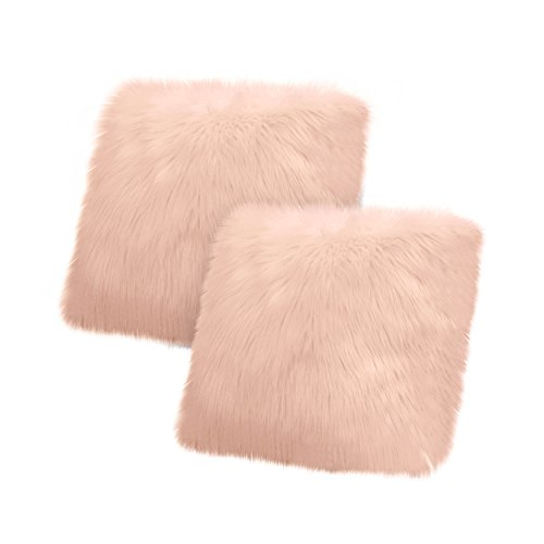 Jean Pierre New York Jean Pierre Faux Fur 2-Piece, Blush Decorative Pillow Set, (Pillow Fur Blush)