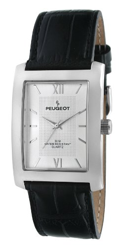 (Peugeot Men's 2033SL Silver-Tone Black Leather Strap and Silver Dial Watch)