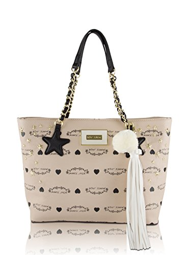 Betsey Johnson Star Stud Hanging Tassel Tote Shoulder Handbag - Sand