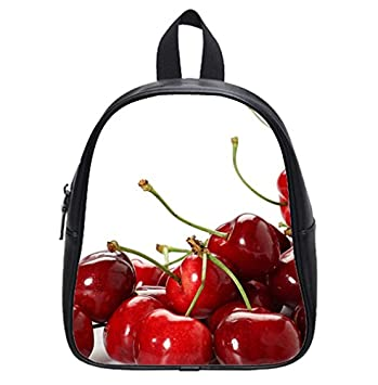 Red Cherry Fruit Wallpaper Backpack Kids School Bag Small