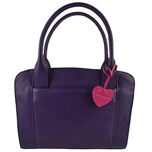 Mala Leather, Borsa a mano donna rosso viola