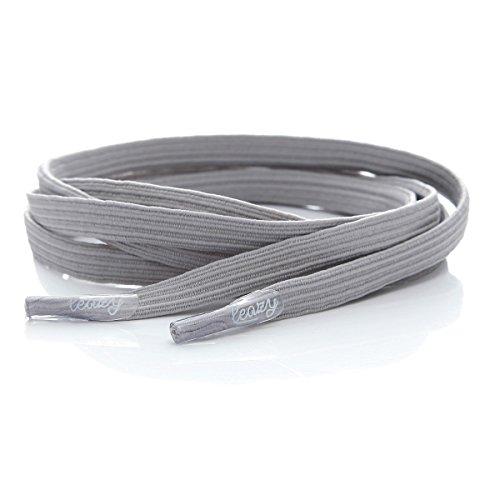 Leazy Flat–Cordones elásticos planos para enganchar–ofrecen un ajuste perfecto y adherentes para niños y adultos Gris - gris claro (grey 801)