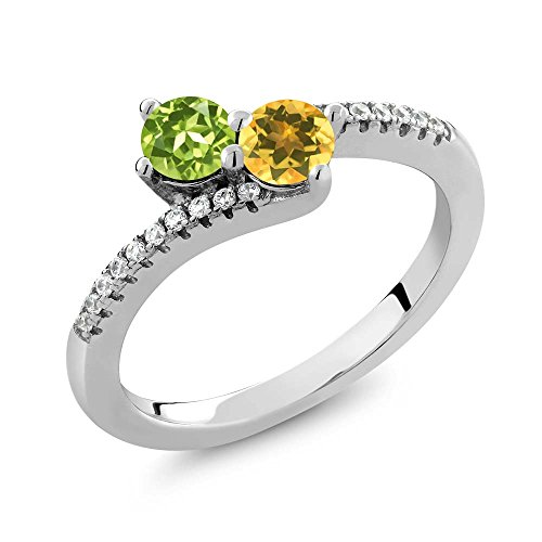 Gem Stone King 0.80 Ct Round Green Peridot Yellow Citrine 2 Stone 925 Sterling Silver Bypass Ring (Size 7)