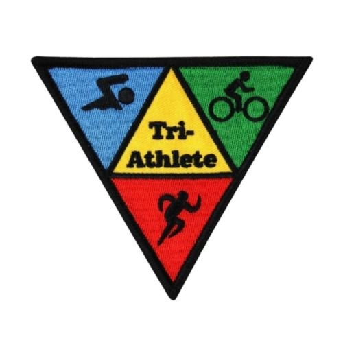 Logo patch embroidered)Triathlon '',Tri-Athlete'', Sport Patch Swim Cycle Run Participant Iron-On Applique + E-book with - Online Triathlon Stores