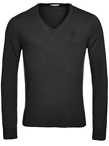 Versace Collection Black Wool V-neck Sweater (M) for sale  Delivered anywhere in USA