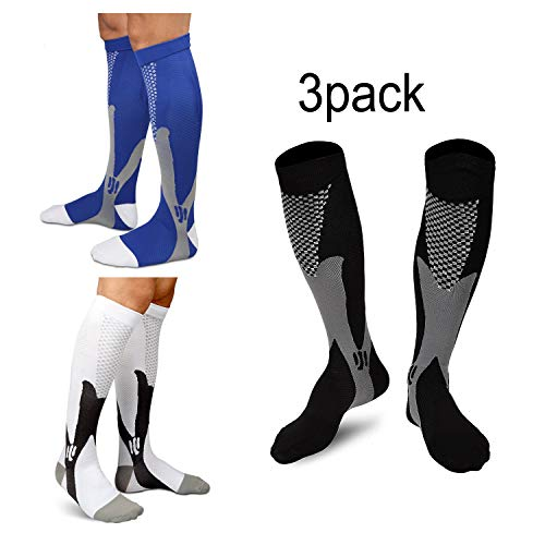 iEase Graduated Compression Socks Men Women,Performance Socks Running, Pregnancy, Flight,Travel,Nursing,Boost Stamina,Speed Up Recovery,Better Blood Circulation,3 Pairs blue white black L/XL