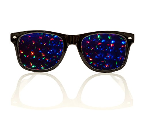 Premium Starburst Diffraction Glasses, Clear Lens -For Raves, Festival, and More ()