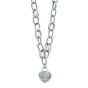 Sterling Silver Cz Hanging Heart Necklace