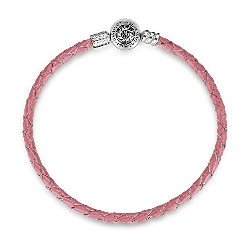 Glamulet Art - 21 cm Pink Leather Bracelet - 925 Sterling Silver