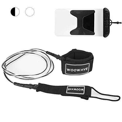 WOOWAVE Surfboard Leash Premium Surf Leash SUP Leg Rope Straight 6/7/8/9 feet for All Types of Surfboards with Waterproof Wallet/Phone Case