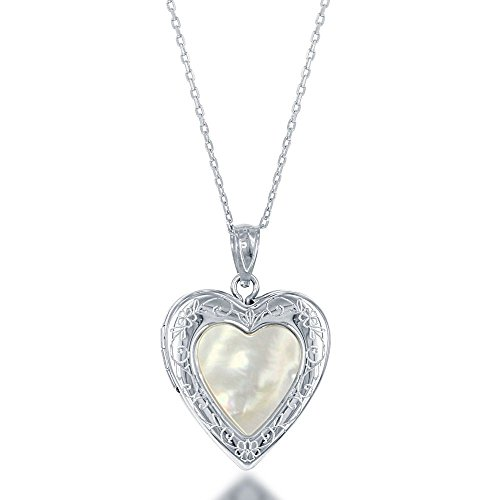- Beaux Bijoux Sterling Silver Mother of Pearl Heart Locket 18