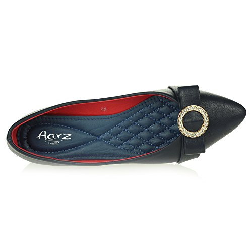 on Ballet AARZ Ballerinas Womens Closed Slip Shoes Smart Toe Navy Size Office Work Ladies Dolly Flat Pumps LONDON Comfort tt1qHw6