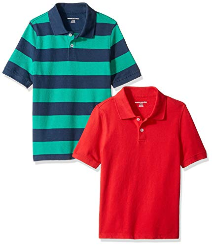 Amazon Essentials Toddler Boys' Short-Sleeve Uniform Pique Polo, 2-Pack Green & Navy Rugby/Red, - Rugby Sleeve Short Pique