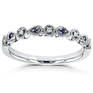 Diamond and Sapphire Accented Milgrain Ring in 10k White Gold