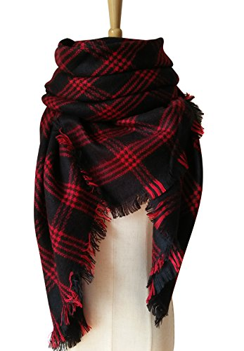 Reversible Cashmere Knit Scarf (MOTINE Tartan Blanket Scarf Stylish Winter Warm Pashmina Wrap Shawl for Women (Red Black))