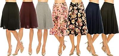 MoDDeals Women's A-line Flared Knee Length Cotton Casual Midi Skirt