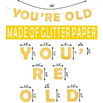 "Holy SHT You're Old Gold Birthday Banner | Old as Sht"" Black Satin Sash | Happy Birthday Cake Topper Birthday Party Supplies| Funny Birthday Party Supplies | Old Birthday Party Supplies Decorations: Clothing"