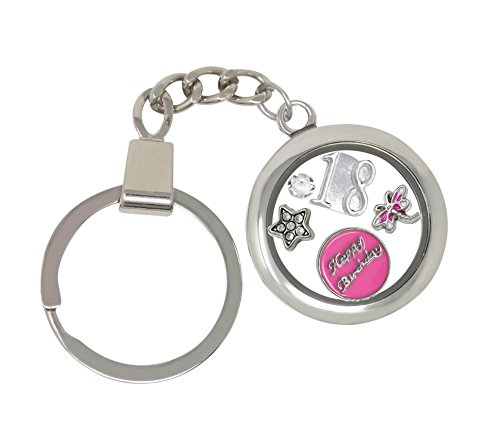 - 18th Birthday Gift Floating Memory Charm Key Ring With Crystals from Swarovski Gift Boxed (18th)