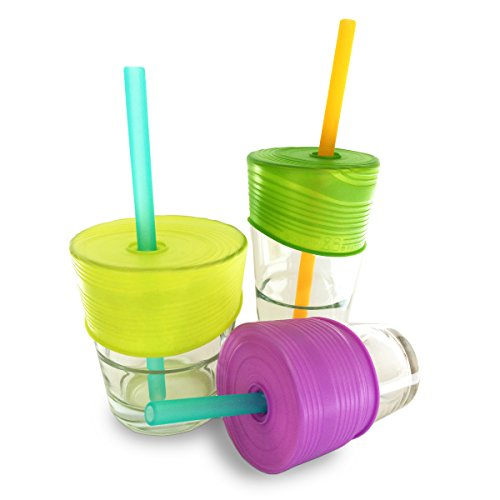 Silikids Siliskin Silicone Straw Tops, Lime/Green/Purple