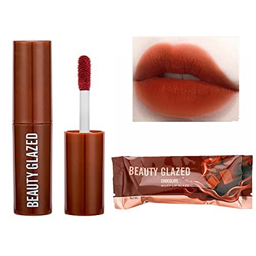1 PC Lip Gloss Chocolate Matte Lip Glaze Matte Non-fading Lipstick (B)