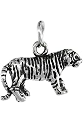 Sterling Silver Tiny Tiger Charm 18 inch Necklace, 3/4 inch