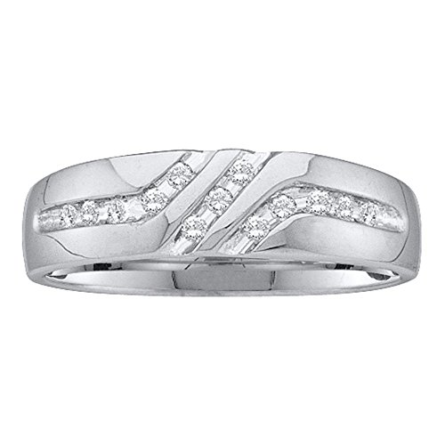 (Jewels By Lux 14kt White Gold Mens Round Diamond 5mm Wedding Anniversary Band Ring 1/8 Cttw Ring Size 9.5)