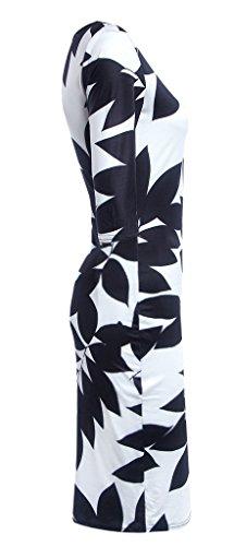 Damen Sommerkleid Baumblatt Drucke 3/4 Ärmel Rückenfrei Bodycon Stretch Cocktaikleid Partykleid Strandkleider Kleid