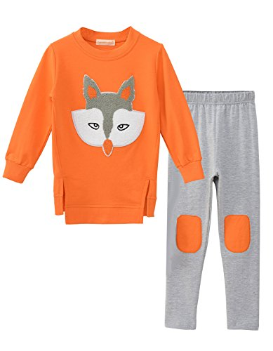 Ancia Little Girls Fox Sweatshirt Top Pants Set Clothes Outfits(Fox Orange,110) , Fox Orange , #110(4-5Years)]()