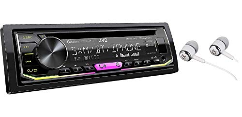 JVC KD-T900BTS SiriusXM Ready Built-in Bluetooth iPod iPhone Android CD MP3 AM FM USB AUX Car Stereo Player Pandora Control iHeart Radio Receiver Variable Color Illumination Free ALPHASONIK Earbuds
