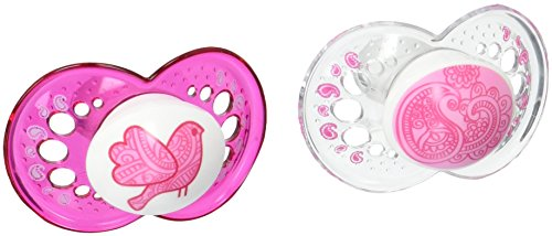 MAM Clear 2 Piece Orthodontic Pacifier, Girls, 6+ Months