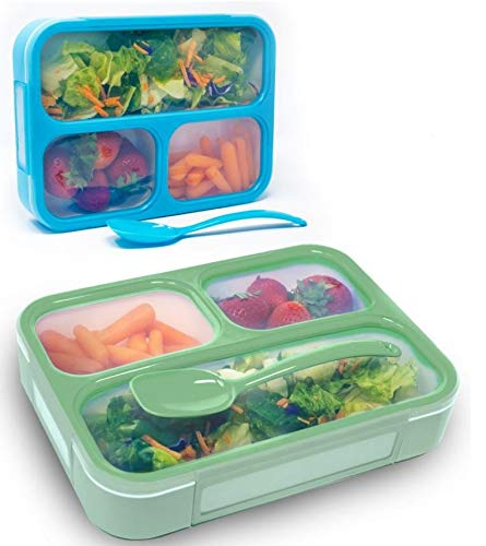 Box School Womens (Bizz Bento Lunch Boxes w/Spoon (2-Pack) 3-Compartment Leakproof Food Storage Container | Work, Home, School | Meal Prep, Portion Control | Dry or Liquid | Men, Women, Kids)