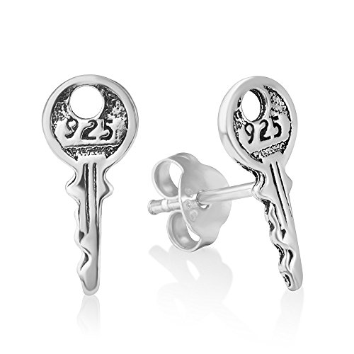 925 Oxidized Sterling Silver Tiny Yale Key Post Engraved 925 Post Stud Earrings 13 mm