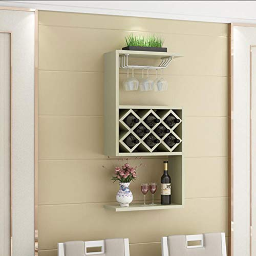 (BETTY Wall-mounted Wooden Wine Cabinet, 8 Bottles Simple Modern Home Restaurant Wall Wine Rack Wall Decoration Shelf (color : White maple color))