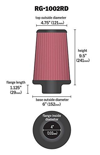 K/&N RG-1002RD filtro cromado universal Coche y Moto
