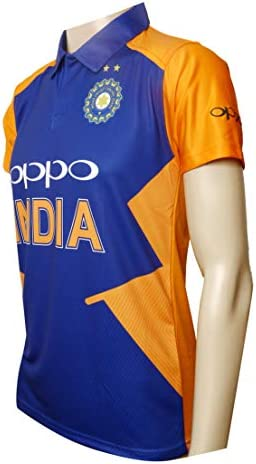 KD Cricket Team India Away Jersey Half Sleeve Cricket Supporter T-Shirt New Orange Team Uniform Polyster Fit Material 2019-20