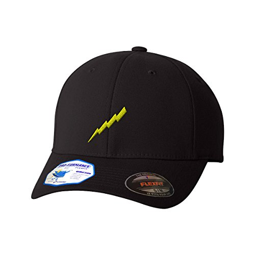 Bolt Hat (Speedy Pros Flash Lightning Bolt Embroidery Unisex Adult Elastic Polyester/Spandex Flexfit Pro-formance Branded Hat Cap - Black, Small/Medium)