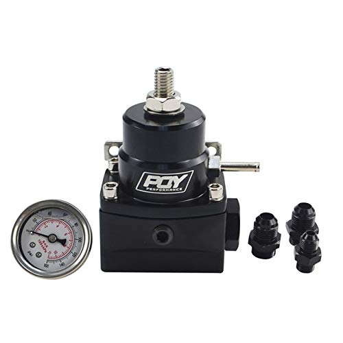 - PQYRACING Fuel Pressure Regulator with Gauge AN8 Feed & AN6 Return Line & AN8 End Cap