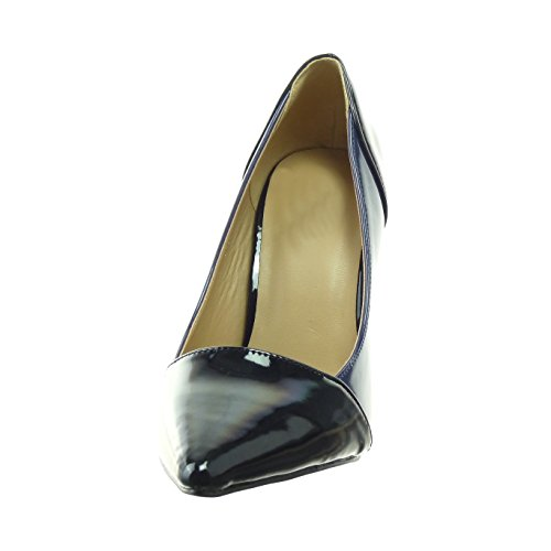 Sopily - damen Mode Schuhe Pumpe Stiletto glänzende Patent - Blau