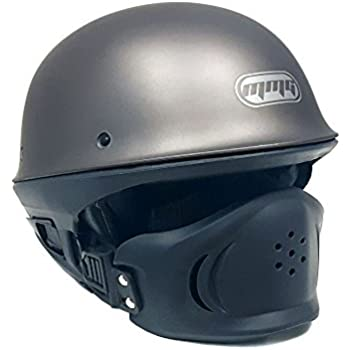 MMG Motorcycle Helmet VADER Titanium Gray Street Open Face DOT Approved - Large