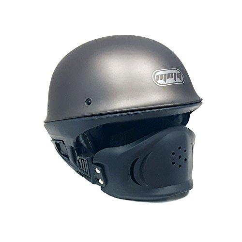 Gray Motorcycle Helmet (MMG Motorcycle Helmet VADER Titanium Gray Street Open Face DOT Approved - Medium)