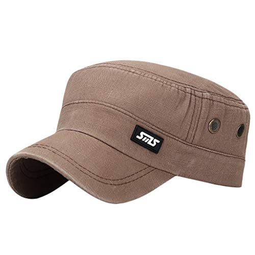 OSTELY Fashion Unisex Military Style Leather Label SMS Flat Cap Vintage Baseball Cap Sport Sun Hat(Brown)