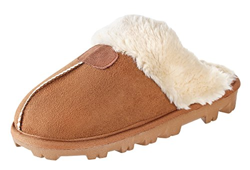 Faux Handmade Fur (Willowbee - Sierra Suede Slippers Women I Micro-Suede I Rubber Sole I 100% Lined with boa Lining I Comfortable House & Outdoor Slippers I Chestnut - US 8)