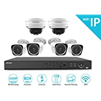 LaView 1080P Wi-Fi Wireless Security System - 8 Channel IP NVR, 2TB HDD/6 Camera - 4, 2MP Bullet & 2, 2MP Dome Indoor/Outdoor, 100ft Night Vision Surveillance System (LV-KNW986BT4DT2-T2)