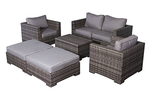 Cabana Collection Outdoor Wicker Patio Furniture Sectional Conversation Sofa Set For Backyard, Porch or Pool | No Assembly Required (7 Piece Modular Conversation Set, Grey) Review