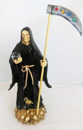 (14 Inch Statue of La Santa Muerte Negra Holy Death Grim Reaper Black Imagen)