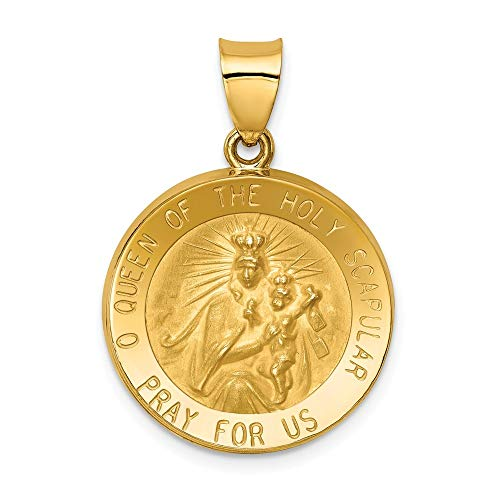14K Yellow Gold Polished And Satin Queen of the Holy Scapular Reversible Medal Pendant from Roy Rose Jewelry
