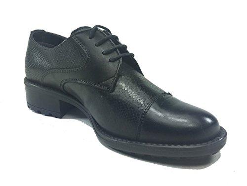 de mujer de cordones para Piel senza negro Zapatos marca xvqnRIFI
