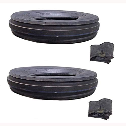 (2) Front Tractor Tire 3-Rib 6.00-16 12 Ply Rated and Tube Set for Ford Deere Massey Case IH ()