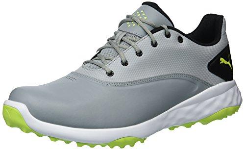 PUMA Golf Men's Grip Fusion Golf Shoe, Quarry/Acid Lime/Black, 9.5 Medium US