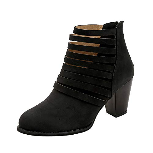 Leather Black Suede 6 Toe Womens 7 5 Rounded Faux HARRYSTORE Block 4 8 9 Hollow Size Zipper Work 3 Heel Boots Ankle Middle School Shoes YSqxX7R